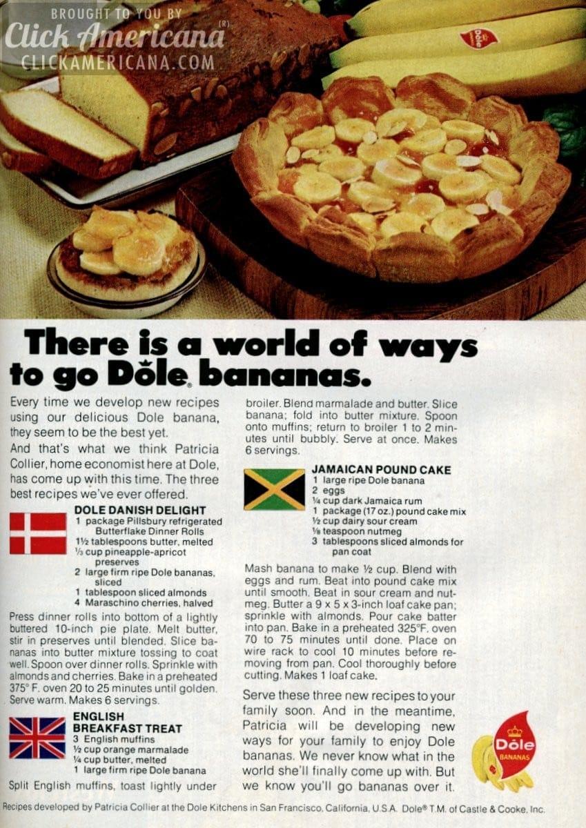 Go bananas! Danish Delight & Jamaican Pound Cake (1972)