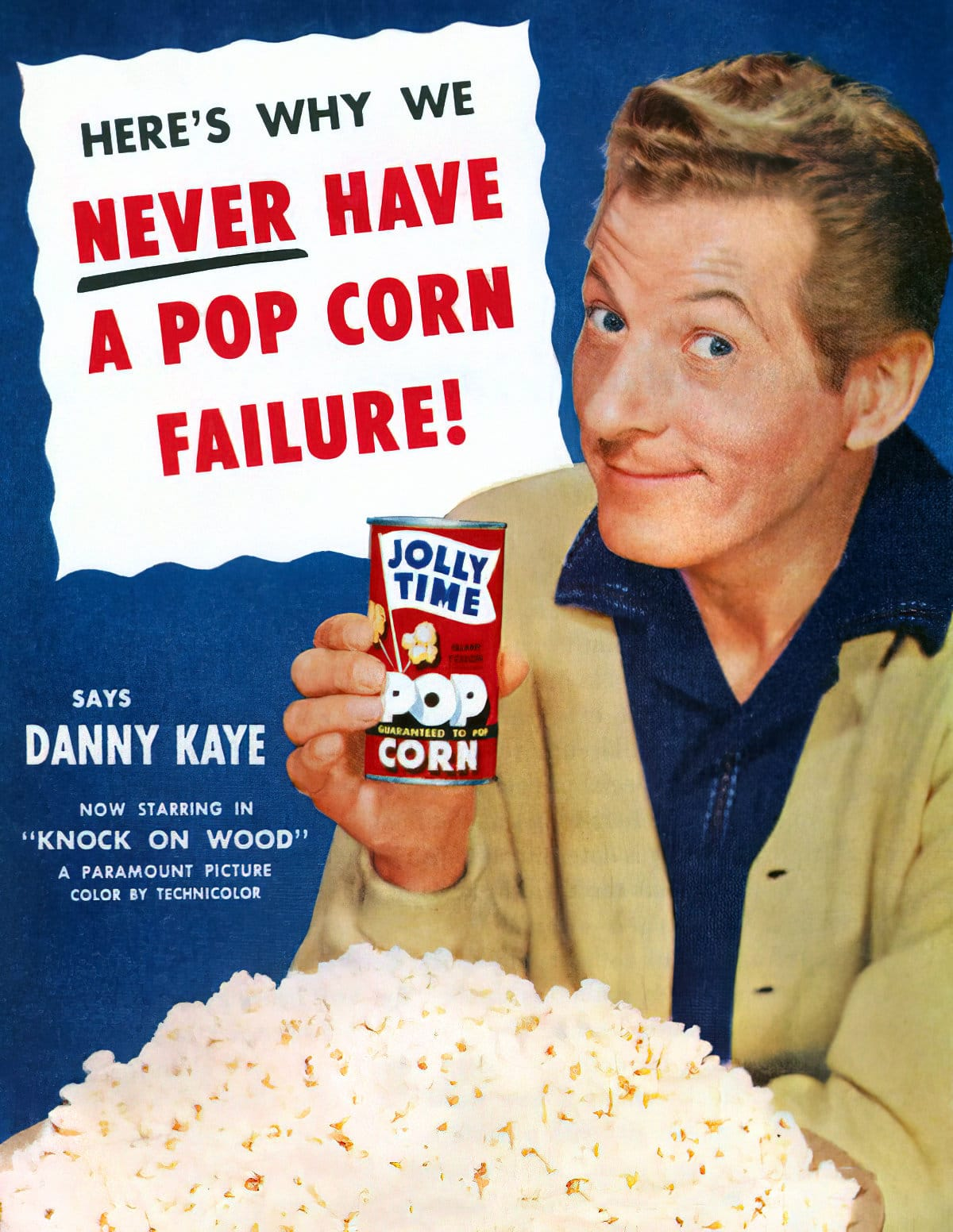 Danny Kaye for vintage for Jolly Time canned popcorn