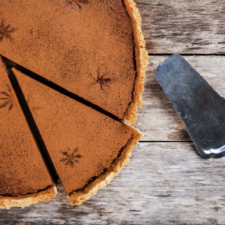 Colonial pumpkin pie with molasses