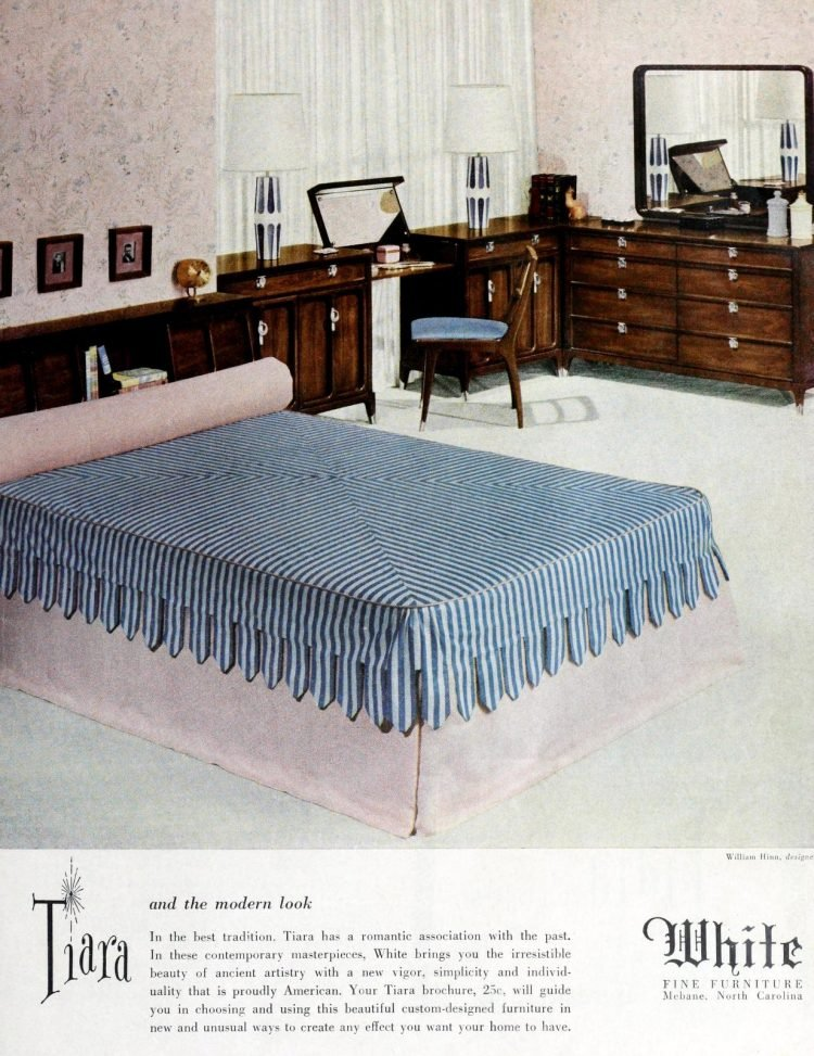 Dark wood furniture and large bed in master bedroom from 1950