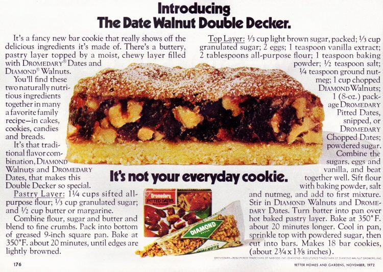 Date-walnut double decker bar cookie recipe (1972)