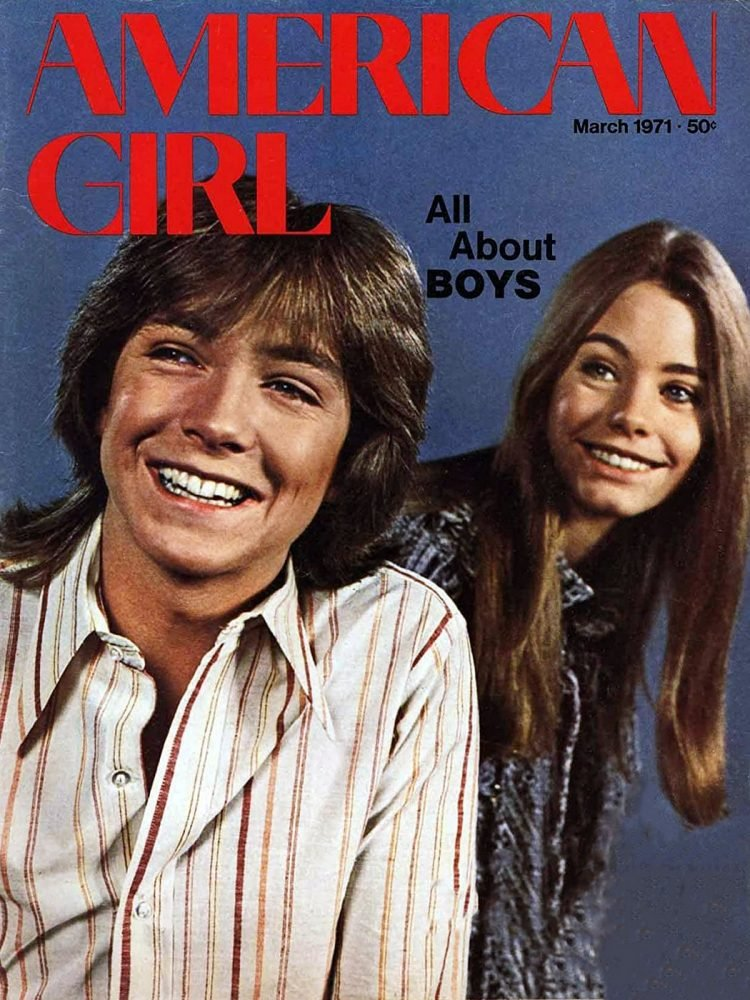 David Cassidy and Susan Dey of Partridge Family on cover of American Girl magazine 1971