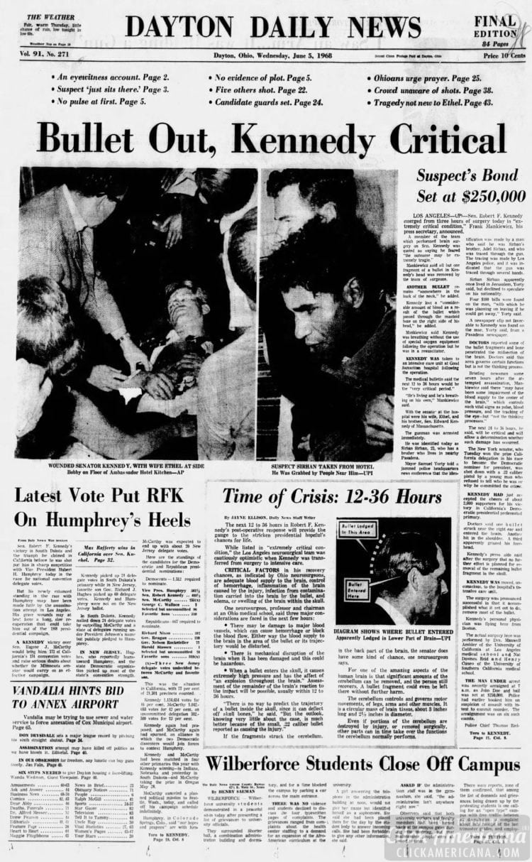 Dayton_Daily_News RFK bullet out - Kennedy critical - June 5 1968