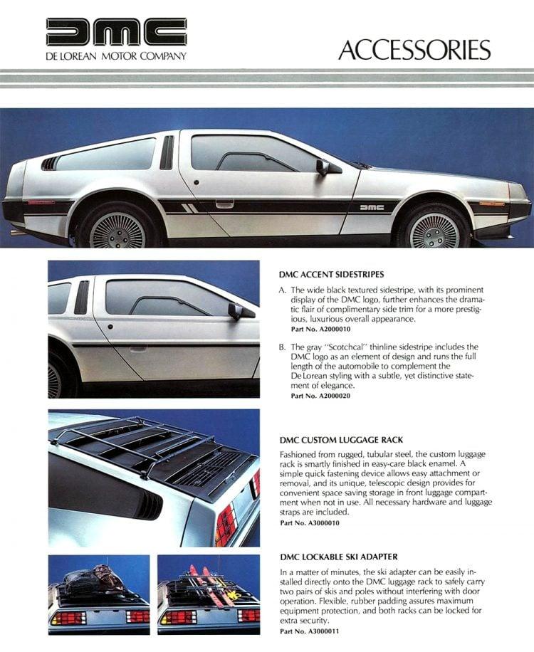 De Lorean Motor Company - Original car accessories brochure