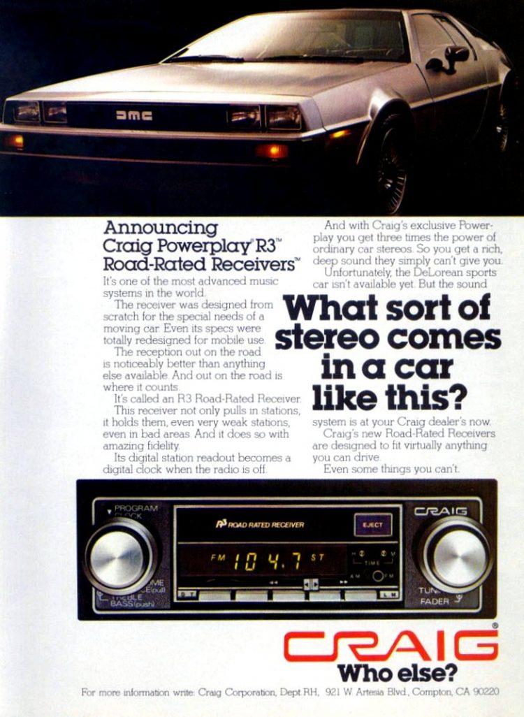 DeLorean car - Craig stereo 1978