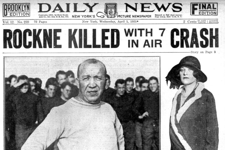 Death of Knute Rockne - Newspaper from April 1 1931 - Plane crash (3)