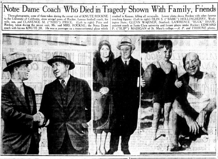 Death of Knute Rockne - Newspaper from March 31 1931 - Plane crash.jpg