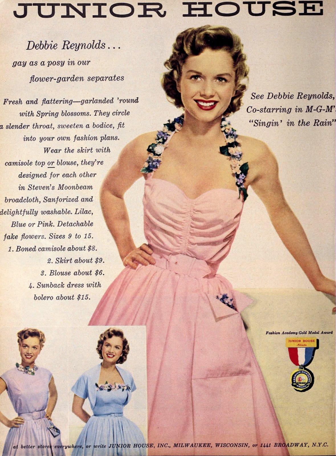 Debbie Reynolds for Junior House fashions (1952)