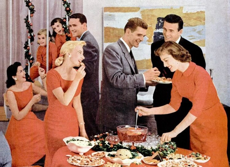Dec 17, 1956 Christmas party table