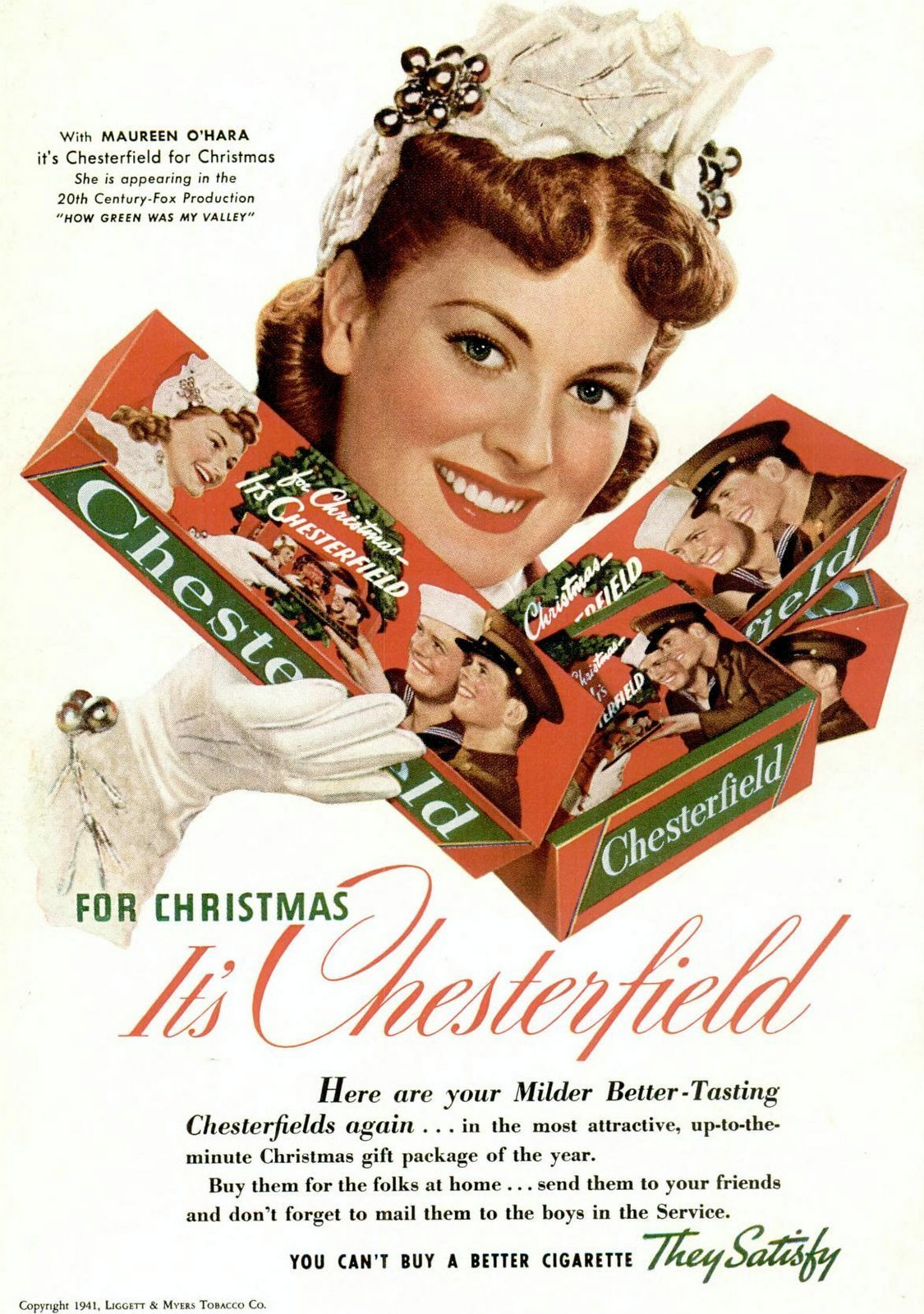 Dec 1941 Maureen O'Hara Chesterfield cigarettes