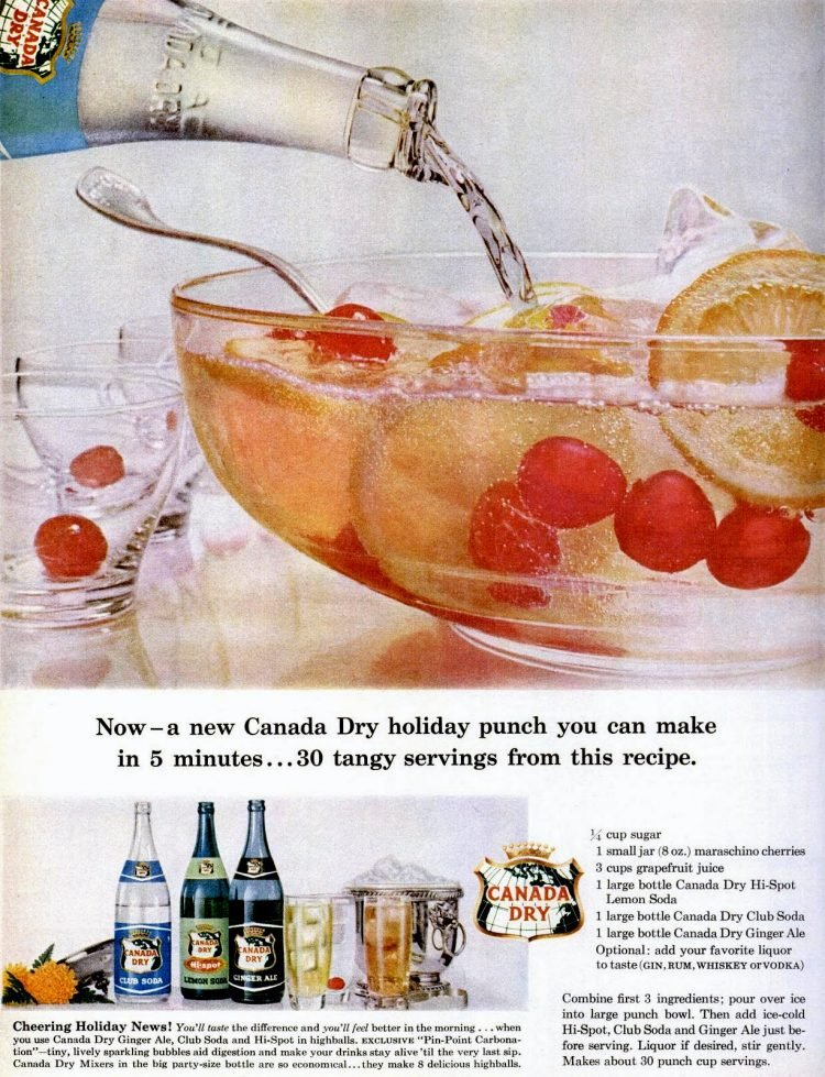 Dec 1959 Christmas punch bowl food drinks
