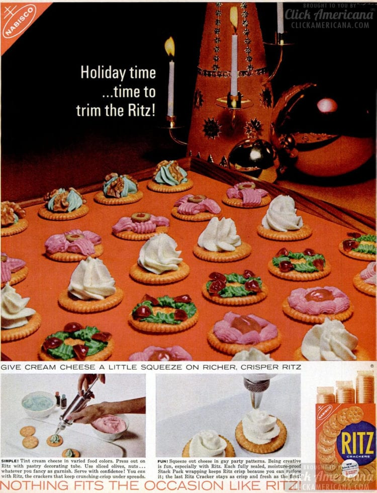 Dec 1962 Ritz Christmas snacks food art