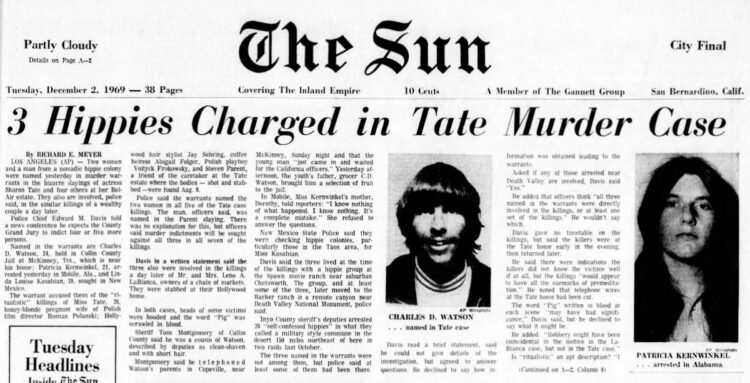 Dec 2 1969 headlines about Manson hippies charged in Sharon Tate death - Charles Manson murders
