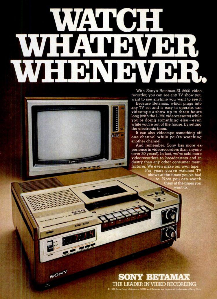 Dec 4, 1978 Sony Betamax video info