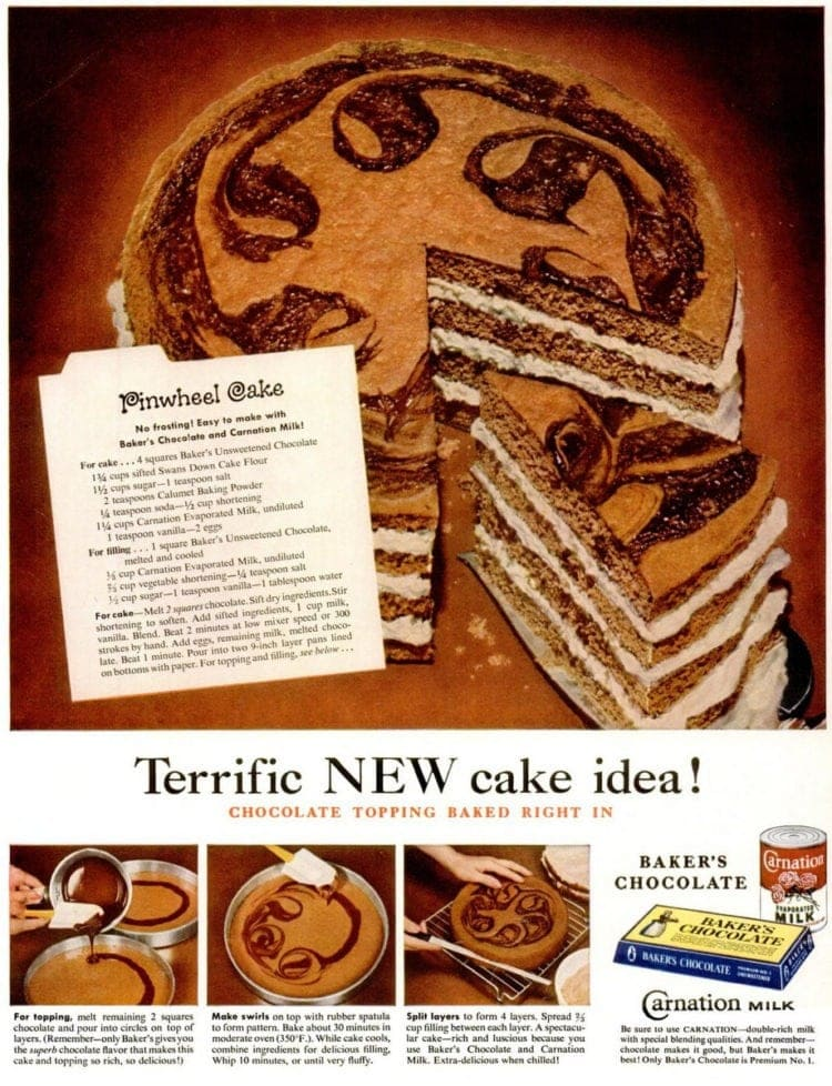 Chocolate Pinwheel cake recipe vintage