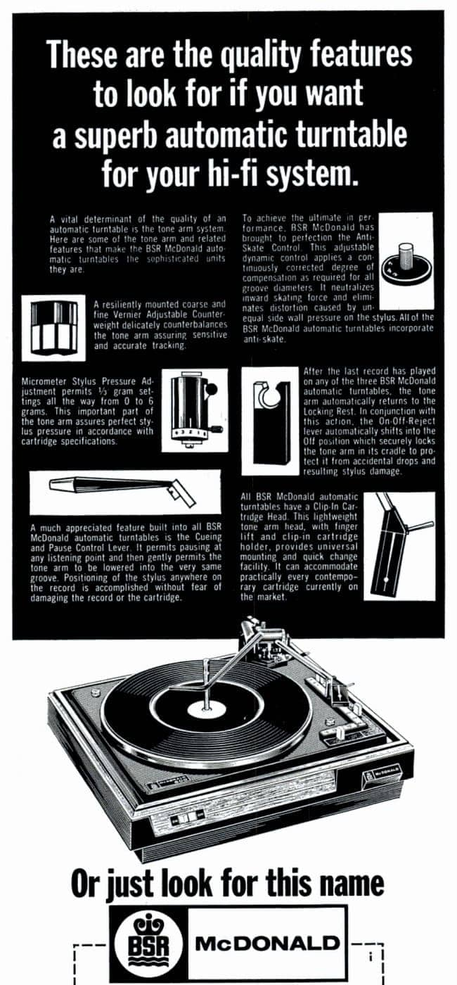 Dec 6, 1968 Turntable - record player tech