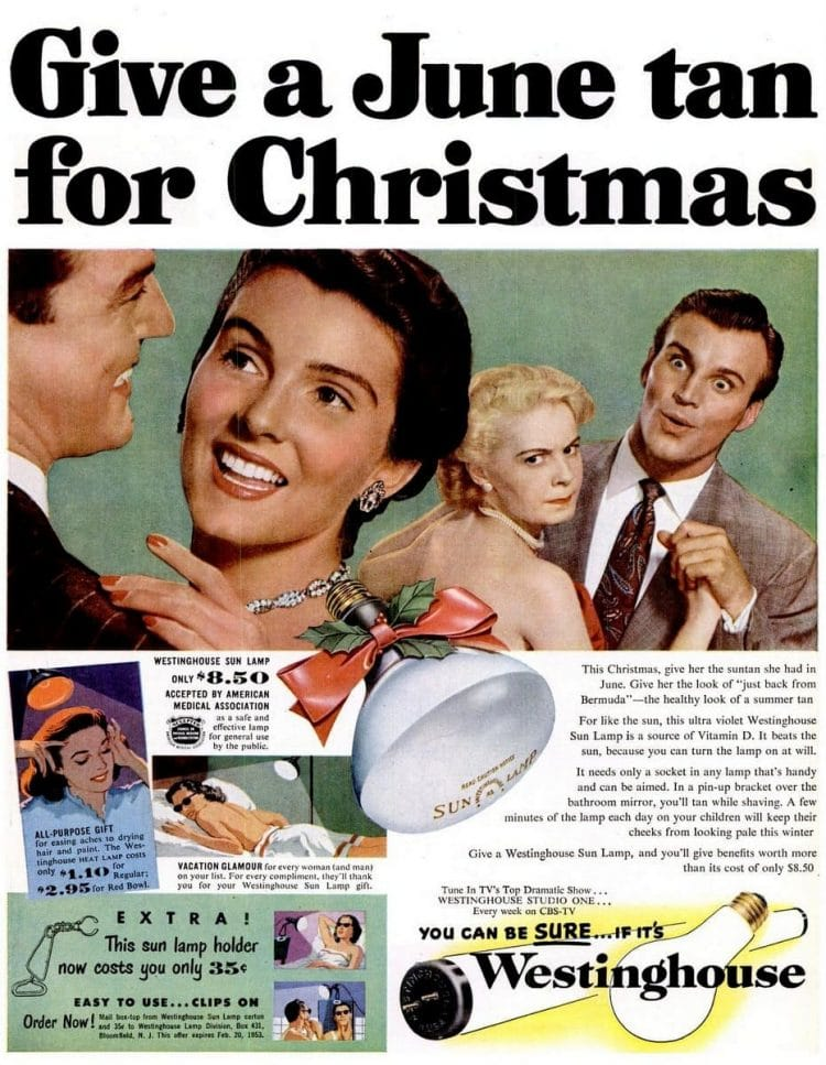 Dec 8, 1952 home tan sun lamp