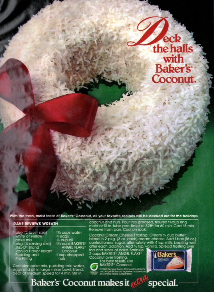 December 1985 Christmas Rave Reviews cake recipe