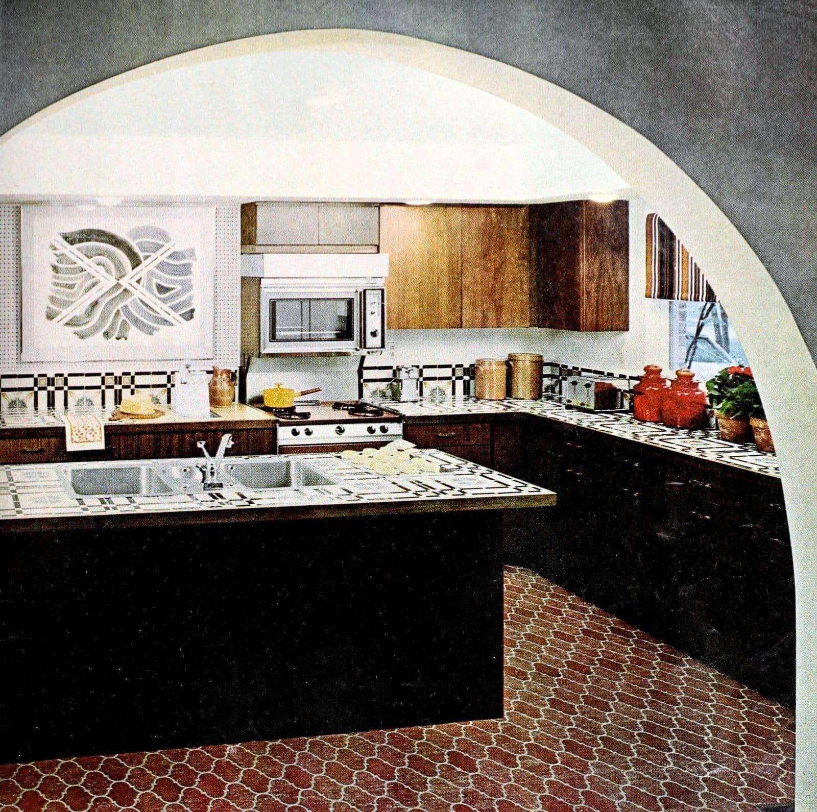 Decorative vintage 1960s kitchen design with tile (1967)