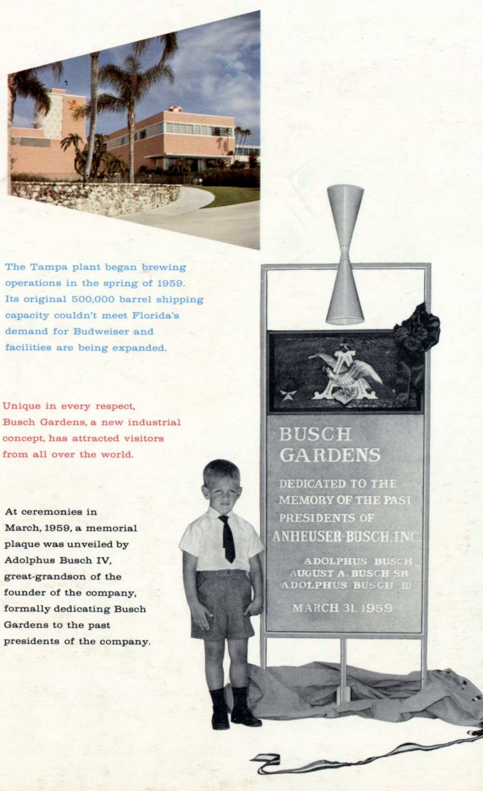 Dedication of Busch Gardens in Tampa Florida 1959