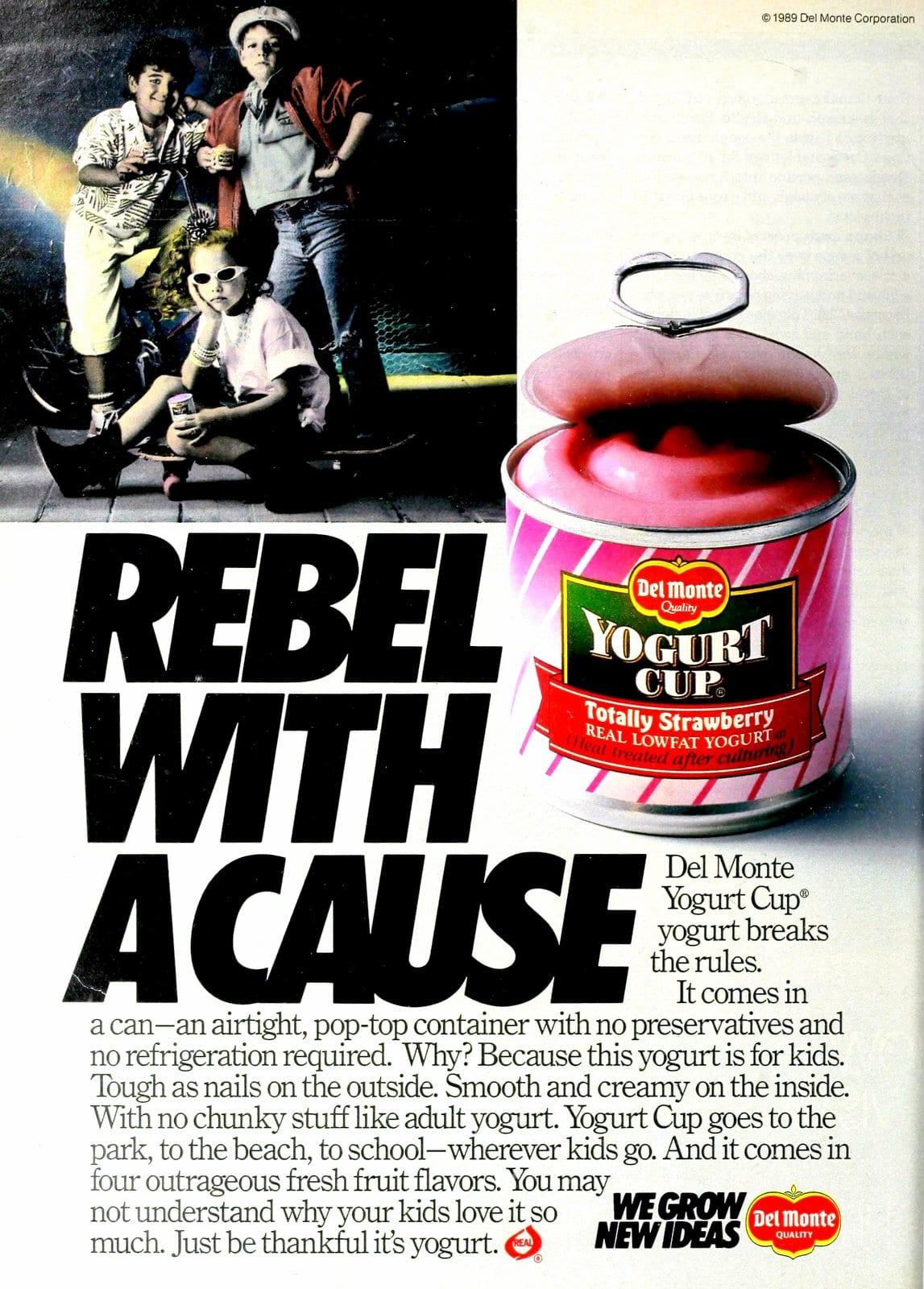 Del Monte Totally Strawberry yogurt cup (1989)