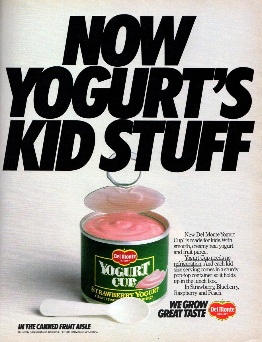 Del Monte yogurt cup is made for kids (1988)