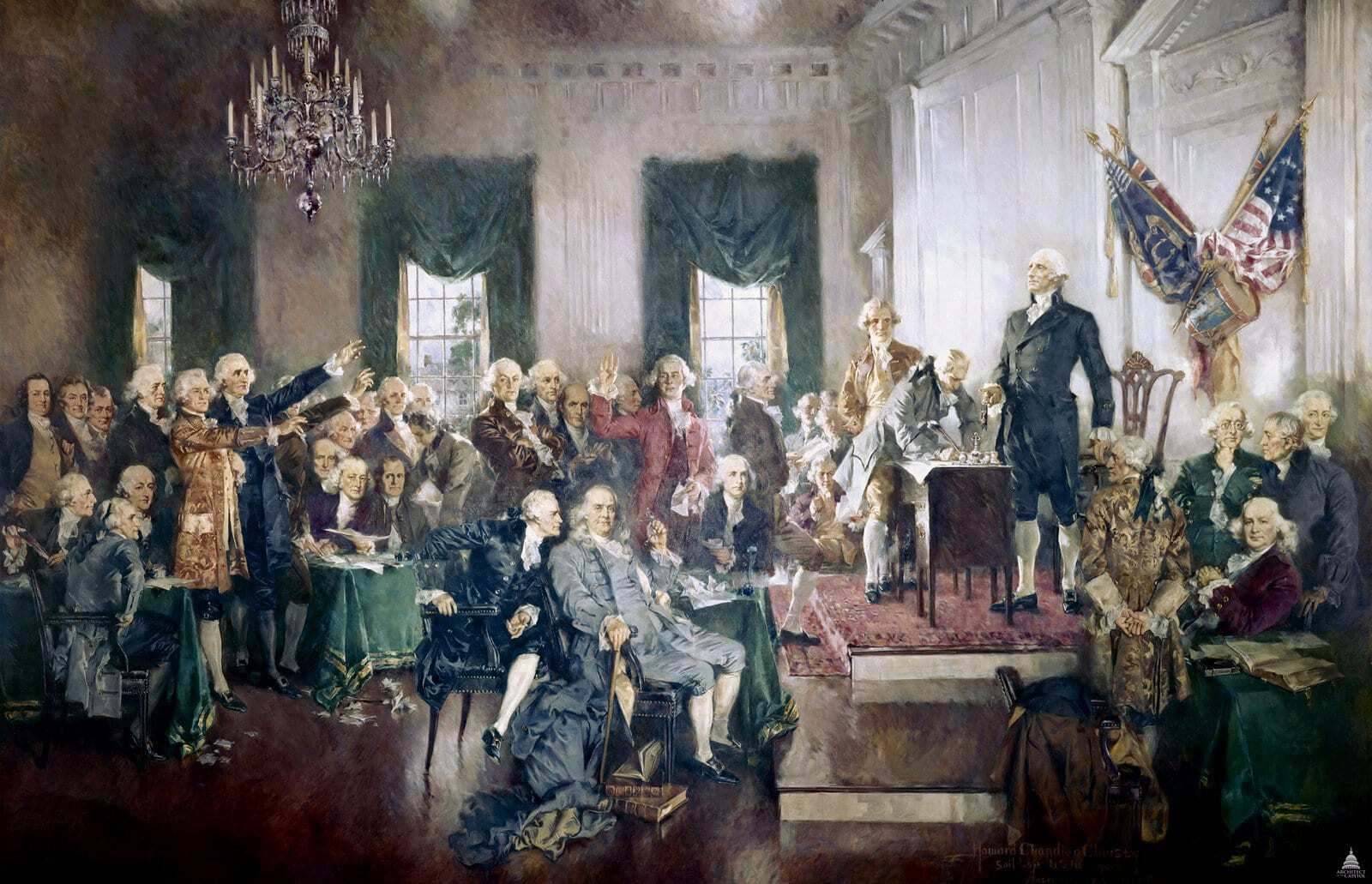 Delegates sign the US Constitution at Independence Hall in Philadelphia