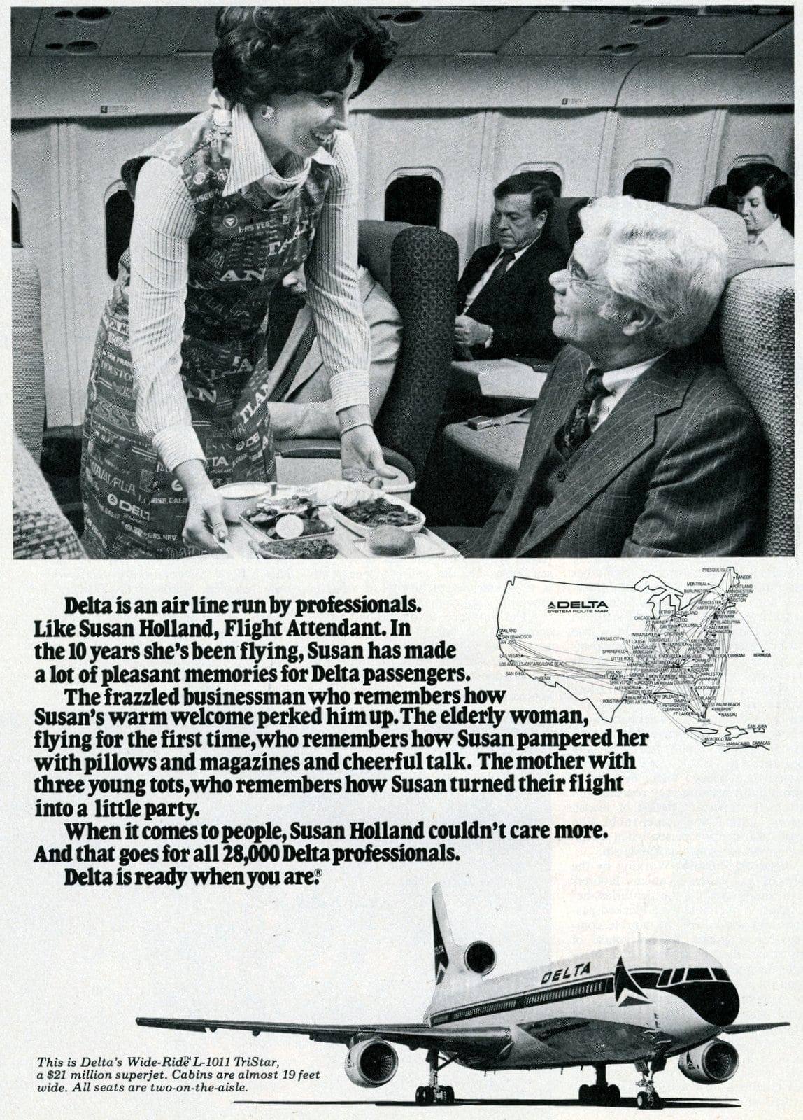 Delta Airlines - Susan Holland, flight attendant (1977)
