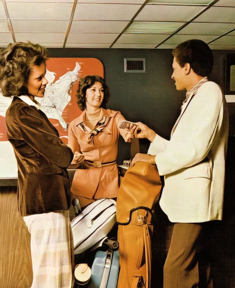 Delta Airlines staff and passenger (1979)