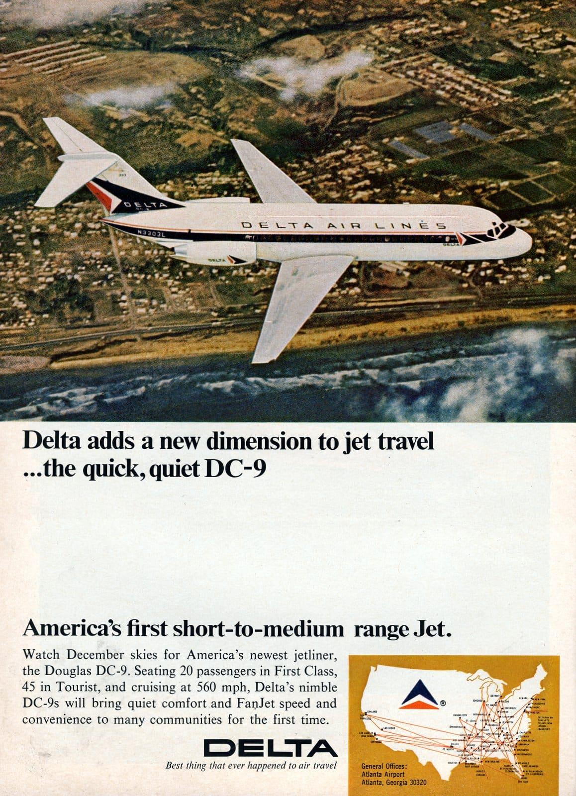 Delta Airlines vintage DC-9 planes (1965)