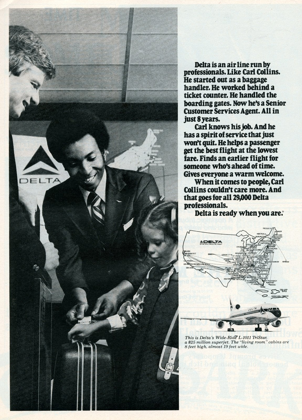 Delta air Senior Customer Service agent Carl Collins (1977)