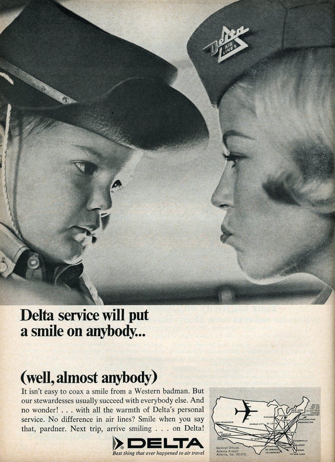 Delta airlines stewardess in 1966