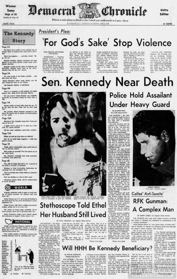 Democrat_and_Chronicle Senator Kennedy near death RFK - June 6 1968
