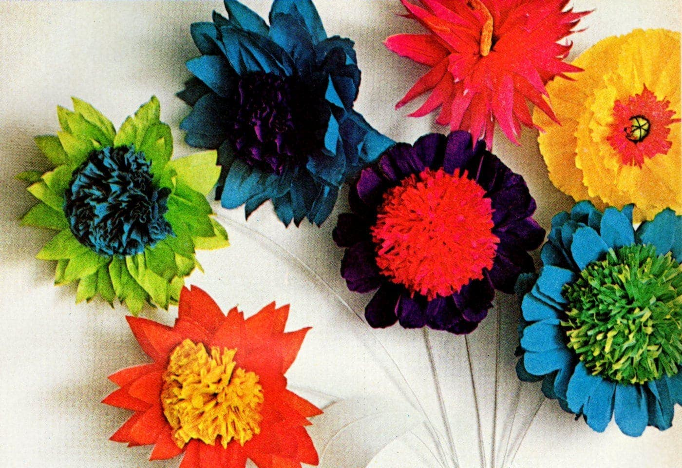 Dennison crepe paper flowers from 1967