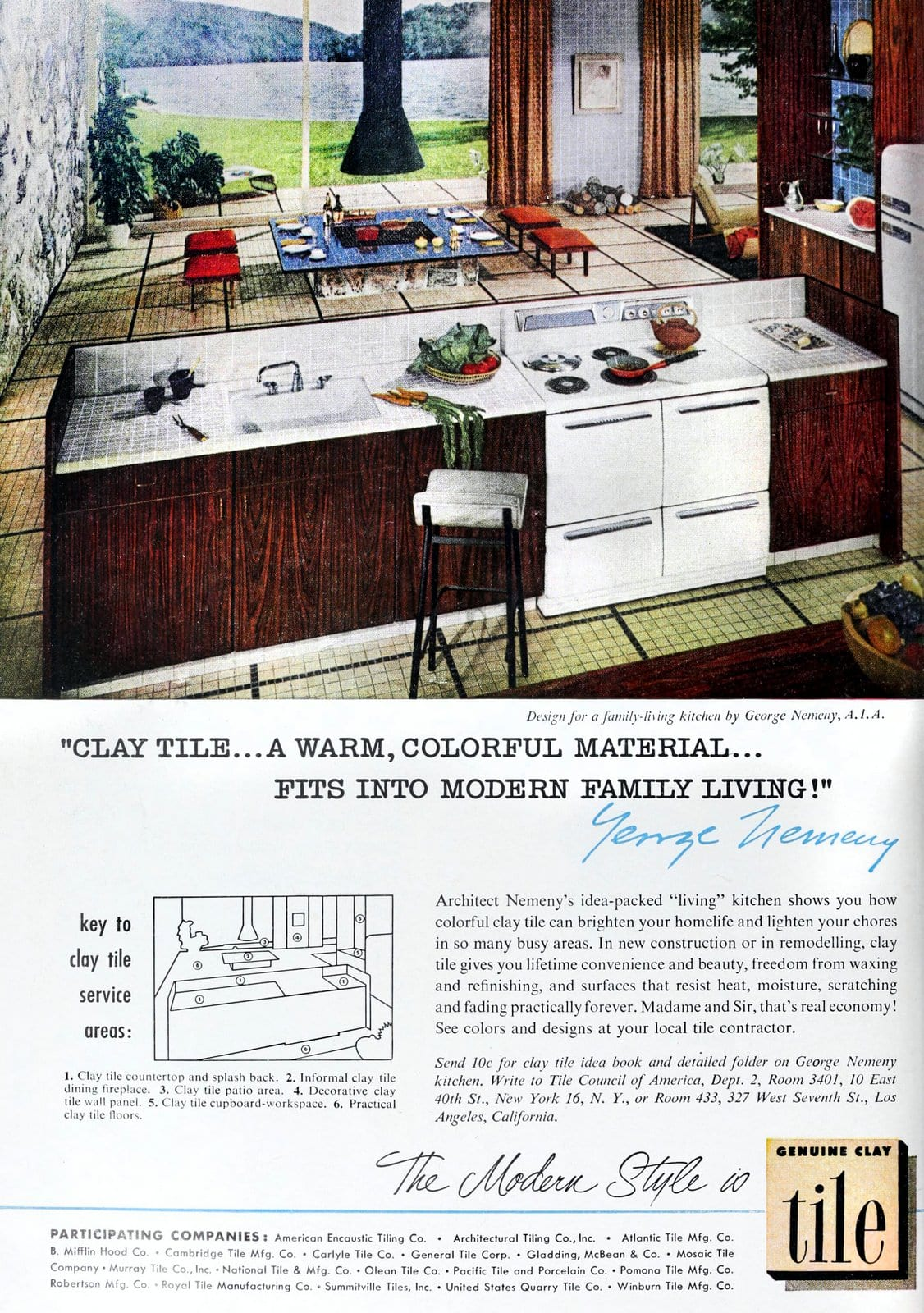 Design for a family-living kitchen by George Nemeny (1953)