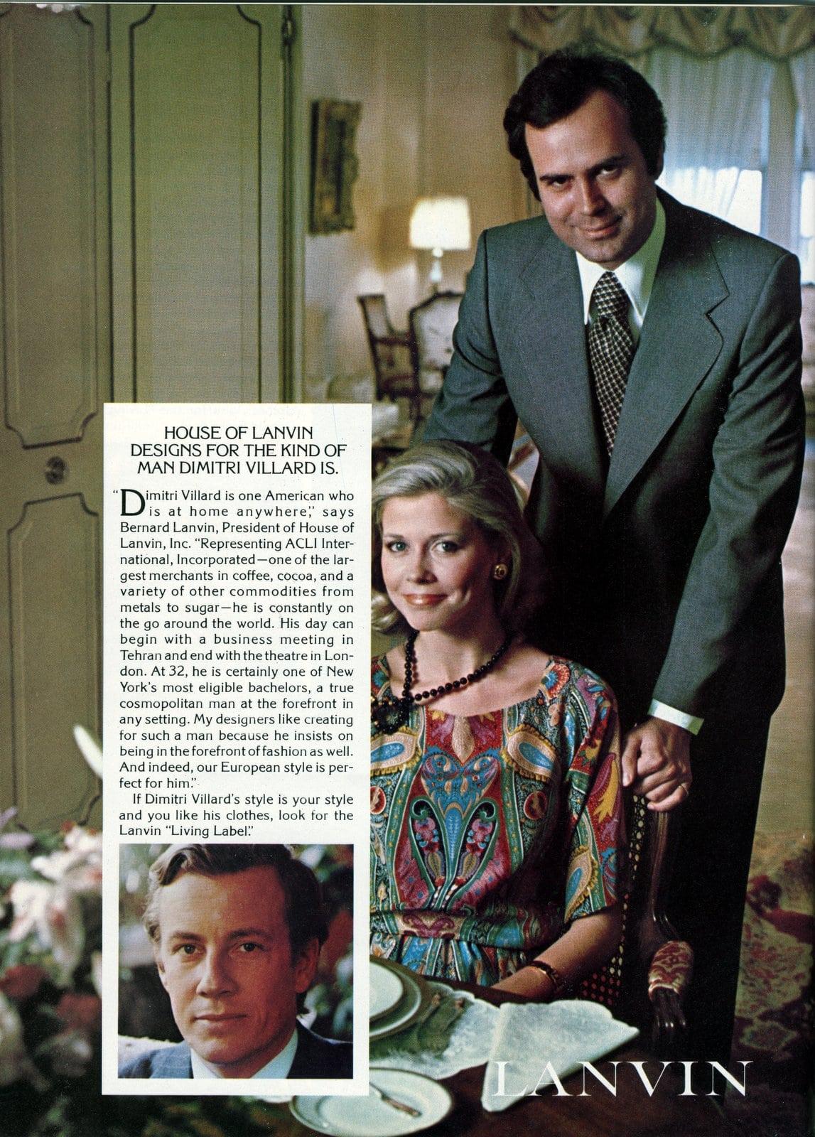 Designer suits for men from 1976 - House of Lanvin - Dimitri Villard