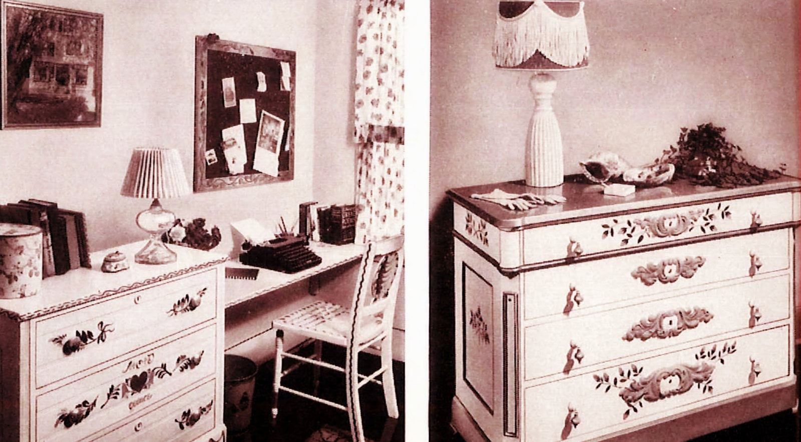 Desk and chest of drawers, restored with paintwork