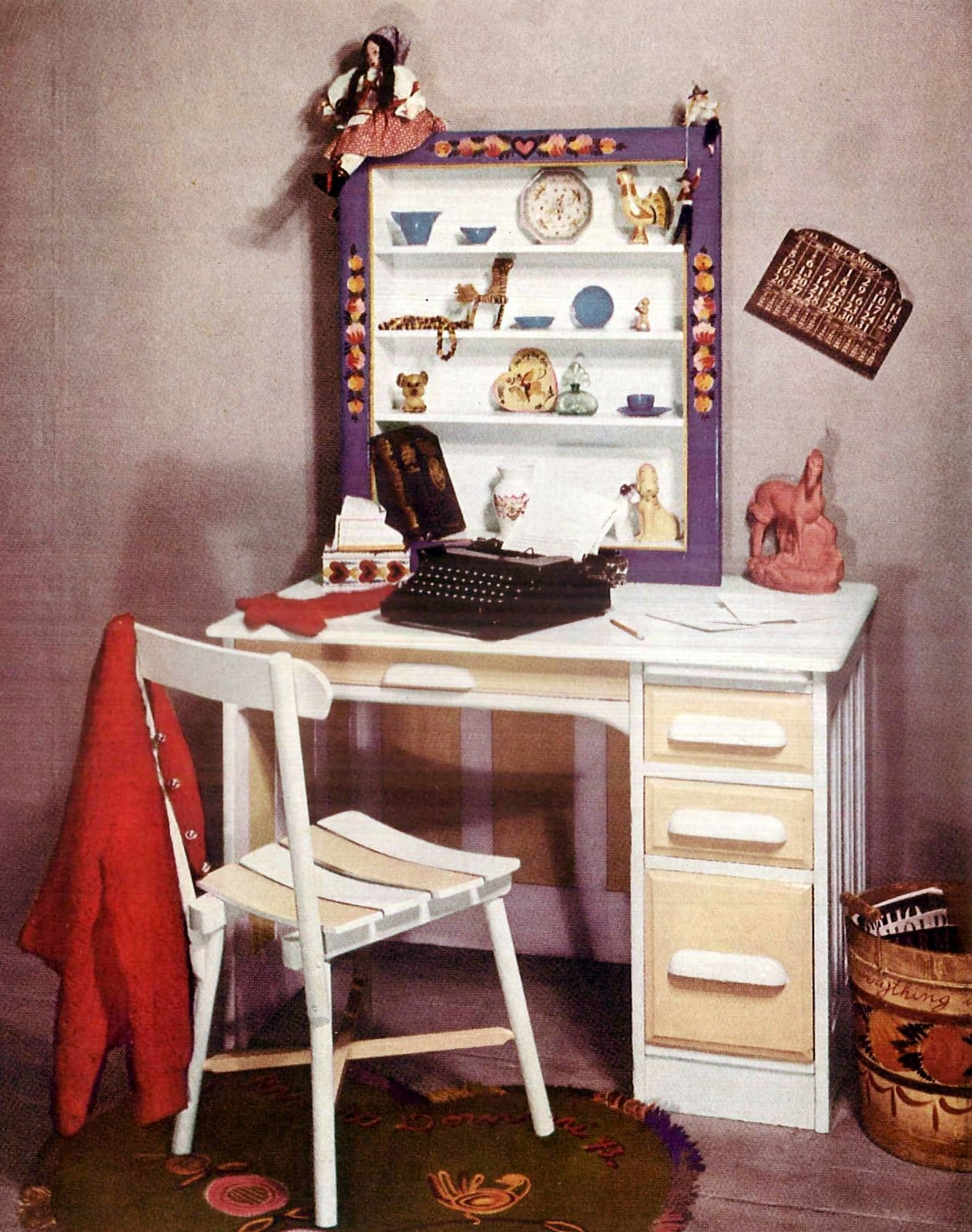 Desk for a teen - painted in light buff and white