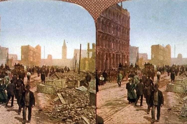 Destruction after San Francisco's 1906 earthquake Color photos