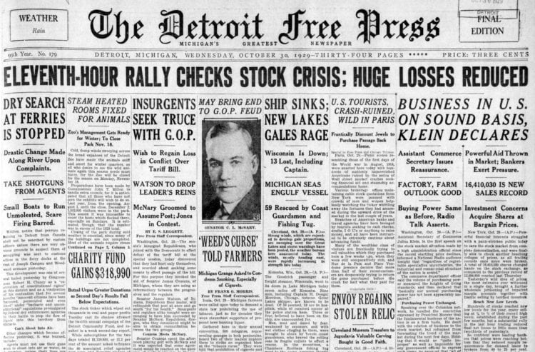 The Great Depression Newspaper headlines from 1929 - Eleventh Hour Rally Checks Stock Crisis; Huge Losses Reduced