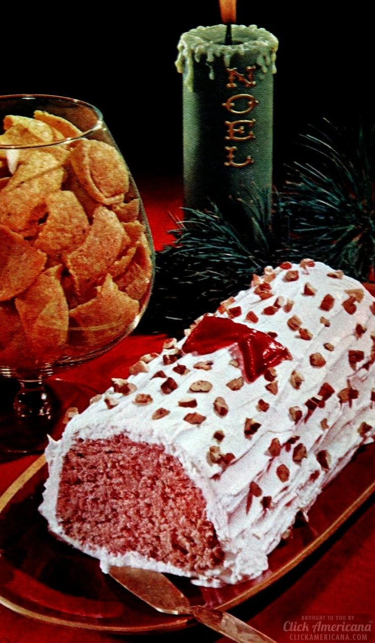 Deviled ham frosty Yule log vintage Christmas appetizers