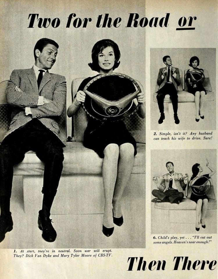 Dick Van Dyke show - Mary Tyler Moore in pretend car 1962 (1)