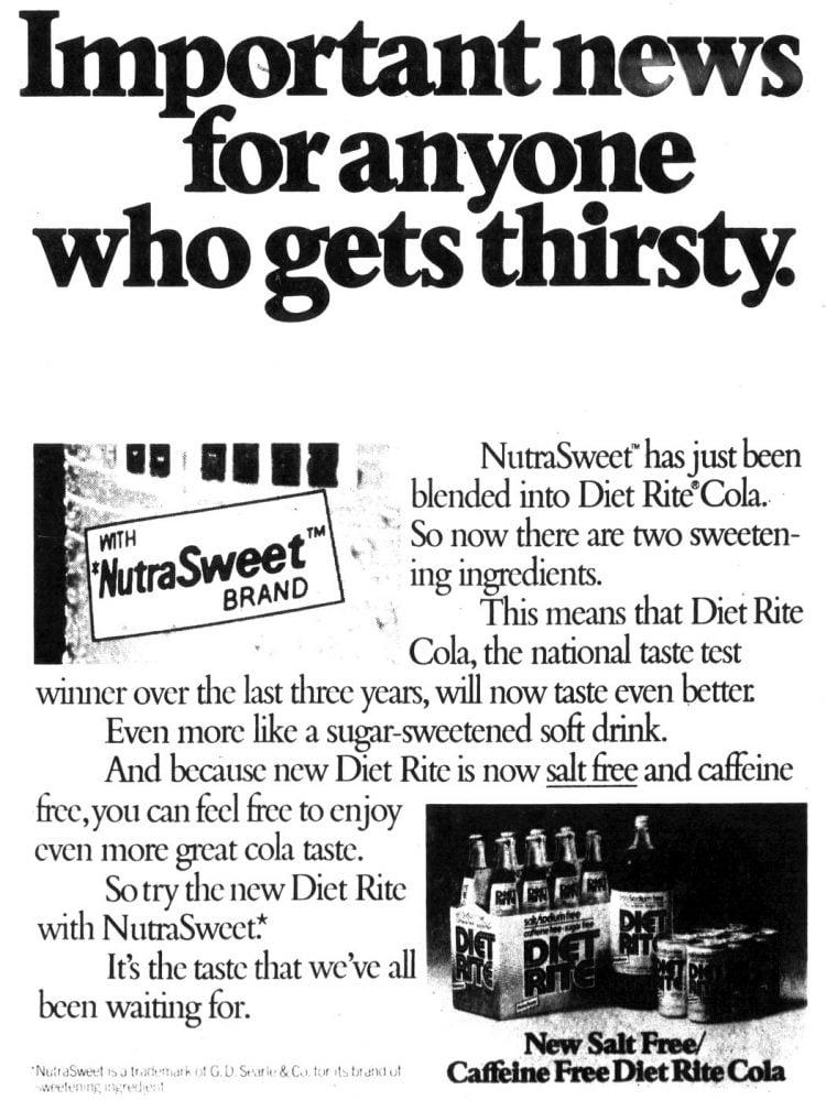 Diet Rite cola - Salt free - 1983