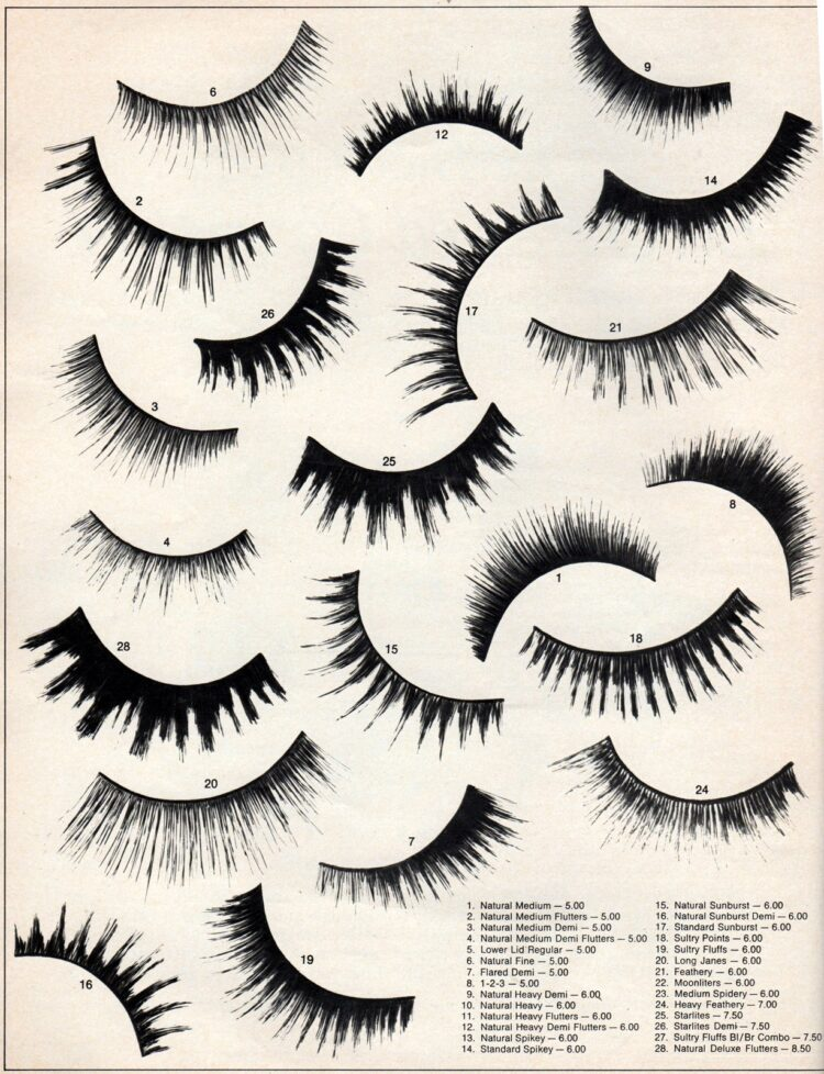 Different kinds of vintage false eyelashes 1970