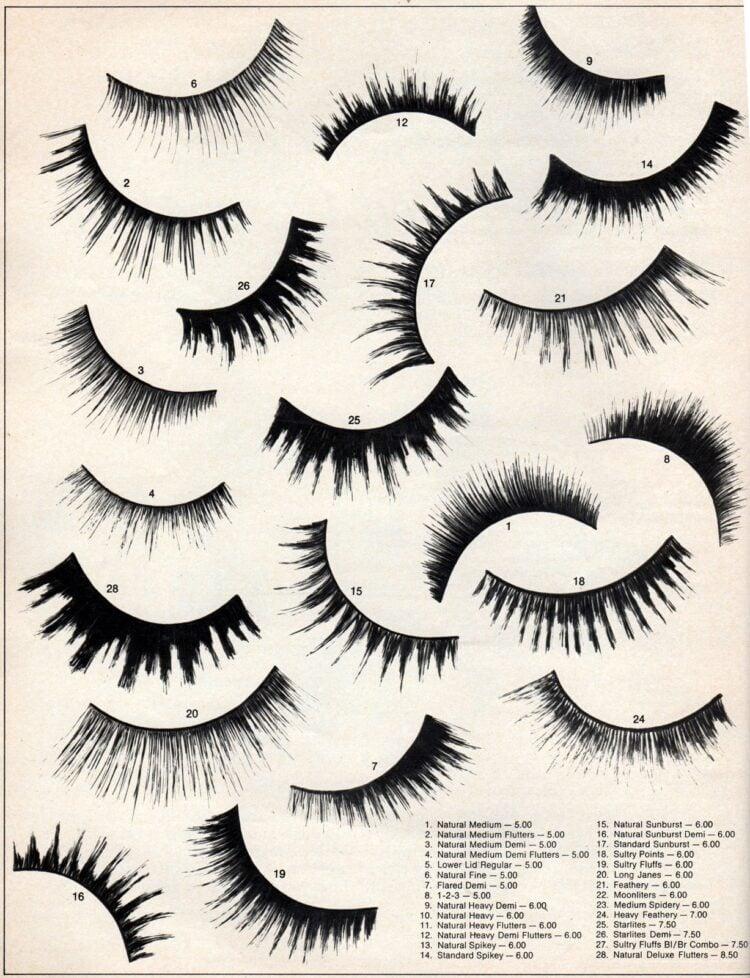 Different kinds of vintage false eyelashes 1970