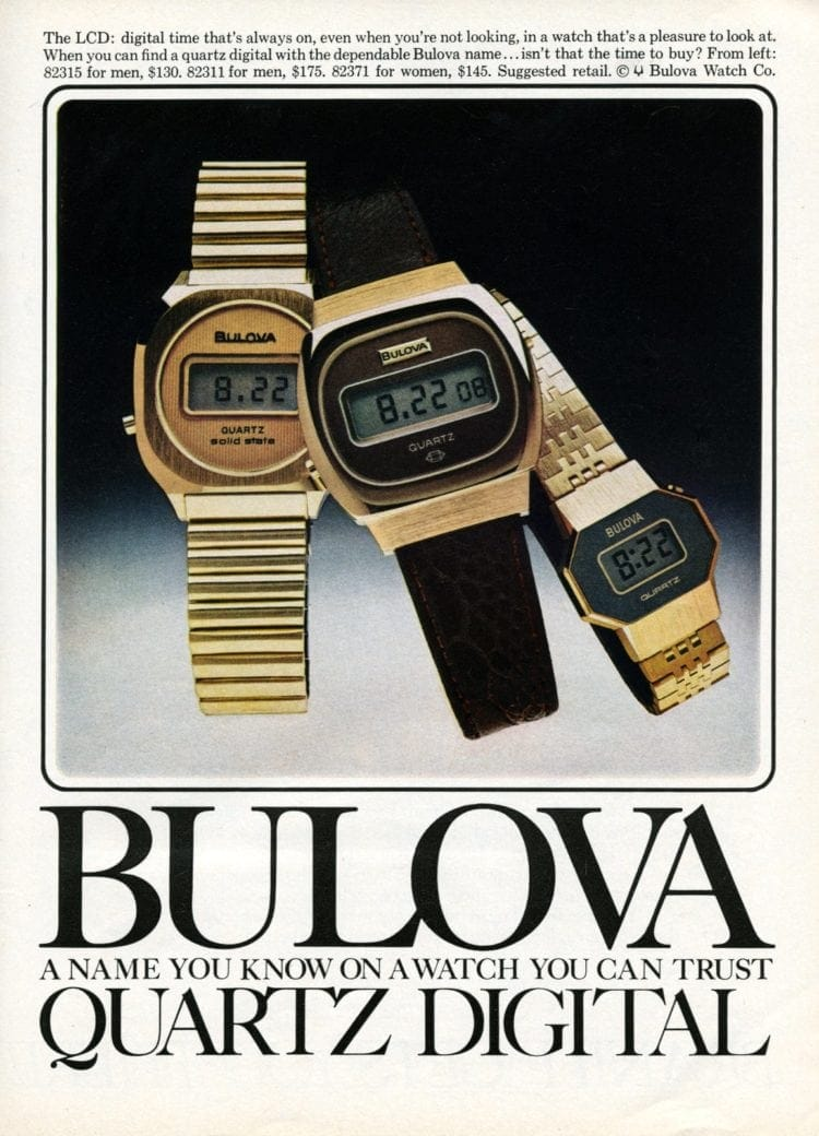 Bulova quartz digital watches
