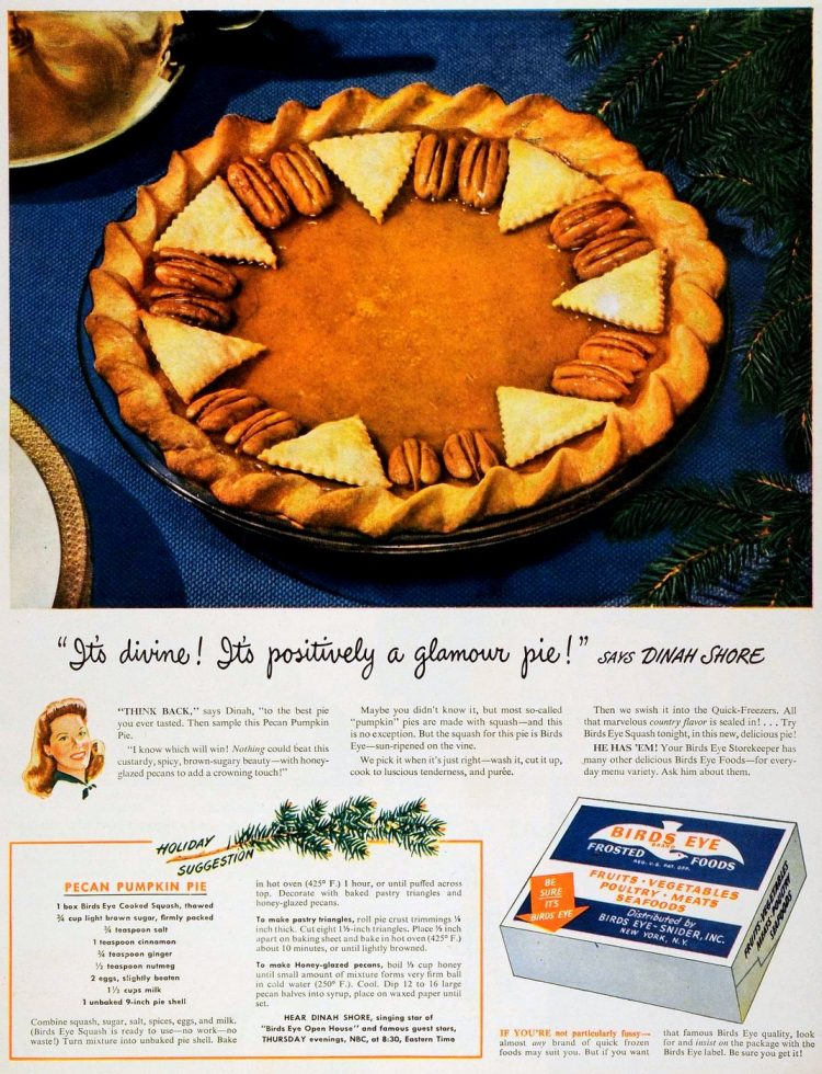 Dinah Shore pecan pumpkin pie recipe from 1945