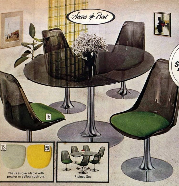 Dinette set with smoke-colored plastic mod chairs from the 1970s