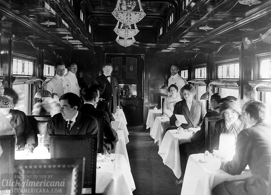 Dining car on a deluxe overland limited train