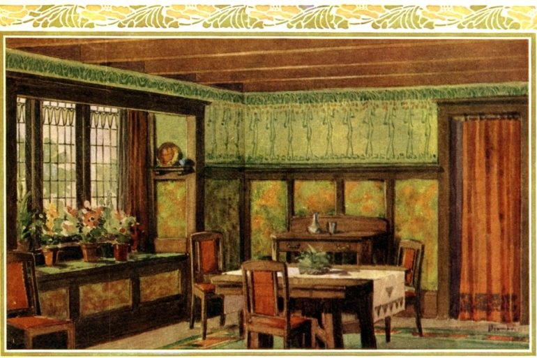 Dining room home decorating in 1910